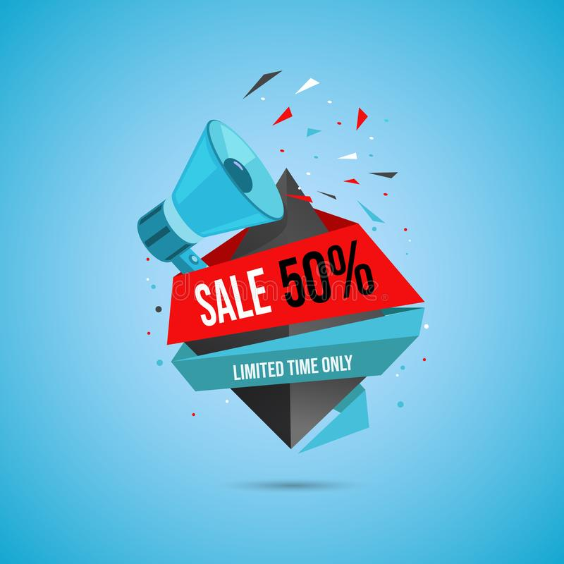 Limited time sale web banner template. Shopping half price discount for customers promotional flat vector poster layout. Limited time sale web banner template stock illustration