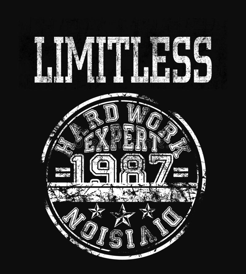 `limitless` typography, t-shirt graphic vector illustration