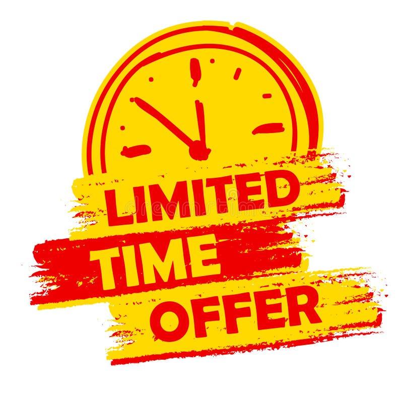 Limitowana czas oferta z zegaru znakiem, kolorem żółtym i czerwień rysującą etykietką, royalty ilustracja