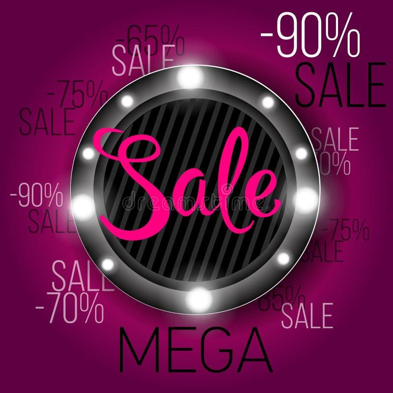 Limitowanej oferty sprzedaży Mega sztandar Sprzedaż plakat Duża sprzedaż, specjalna oferta, rabaty, 60 daleko również zwrócić cor ilustracja wektor