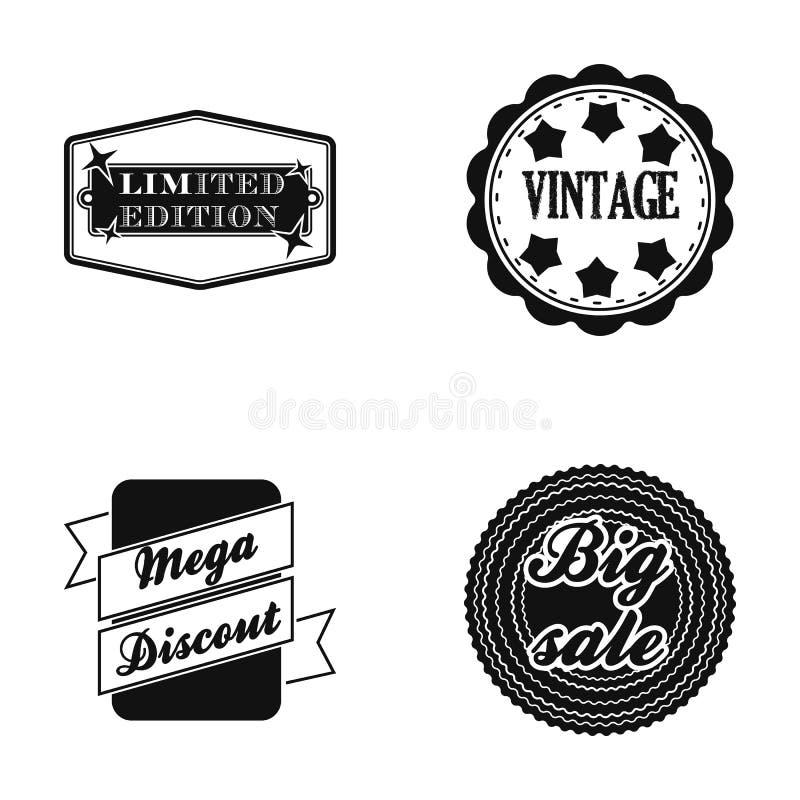 Limitowany wydanie, rocznik, mega discont, wykopaliska sprzedaż Etykietka, ustawia inkasowe ikony w czerń stylu symbolu wektorowy royalty ilustracja