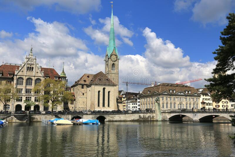 The Limmat is a river  commences at the outfall of Lake Zurich Switzerland. Limmat is a river commences at the outfall of Lake Zurich Switzerland stock photography