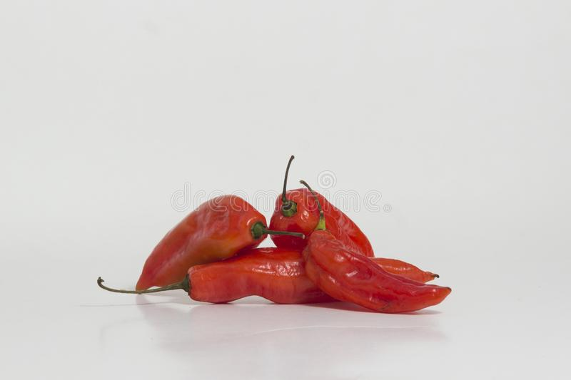 Limo chili still life - Set of different colors at the same plant. The Aji Limo is a strong chili that is used in Peruvian cuisine. As a seasoning for spicy royalty free stock photo