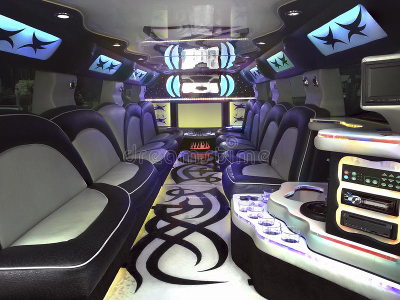 Limo Inside. Inside Stretched Limousine for Celebration royalty free stock photos