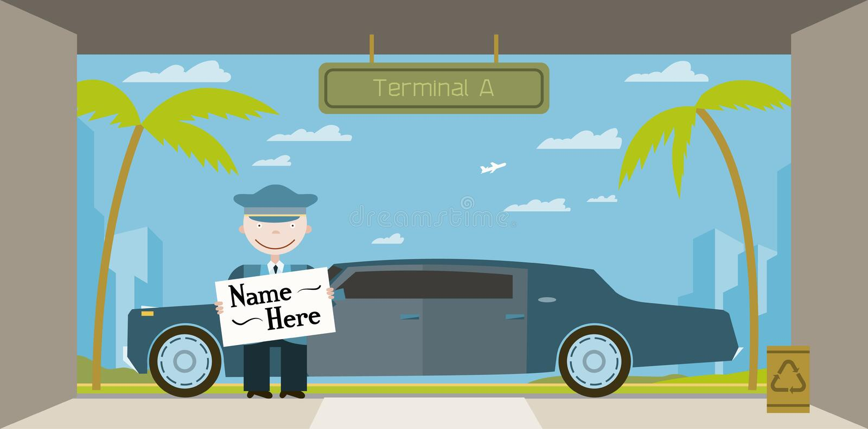 Limo kierowca wita gości przy lotniskiem ilustracja wektor