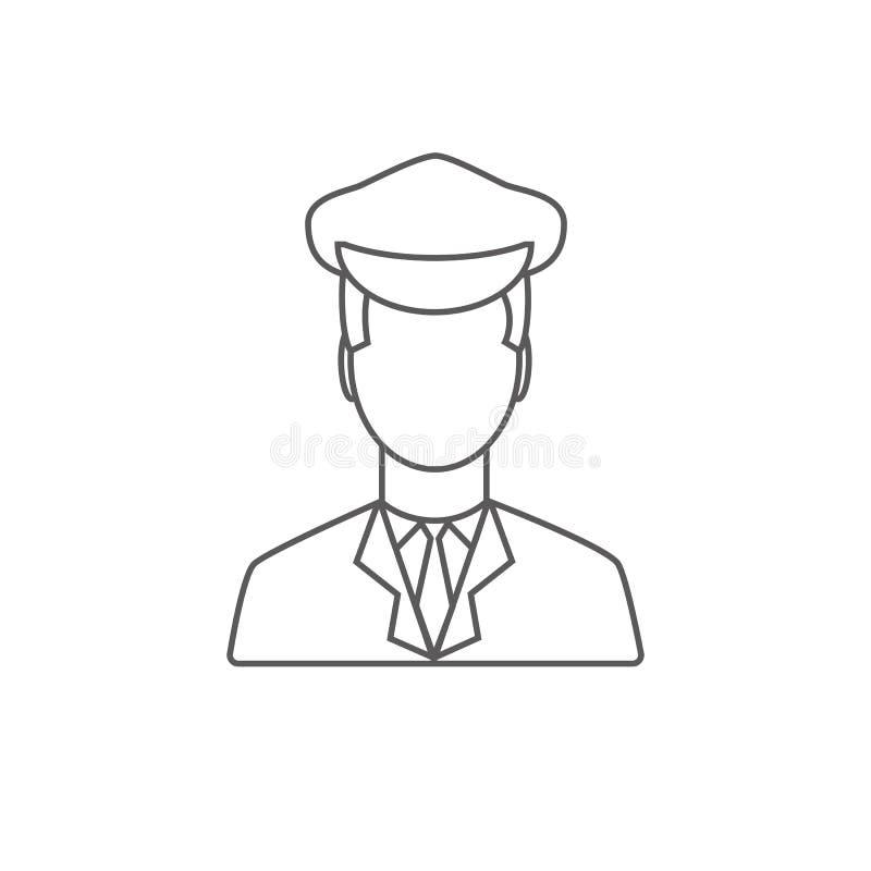 Limo kierowcy liniowa ikona Limuzyna kierowcy ikona Mieszkanie styl Vec royalty ilustracja