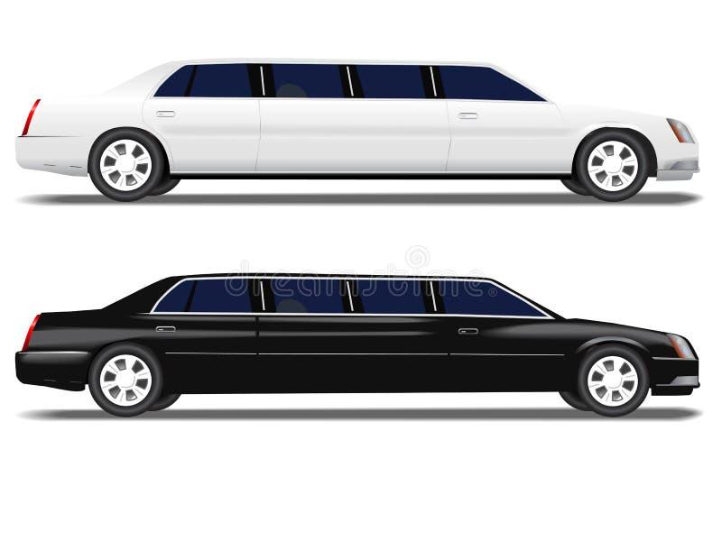 Limo negro y limusina blanca stock de ilustración