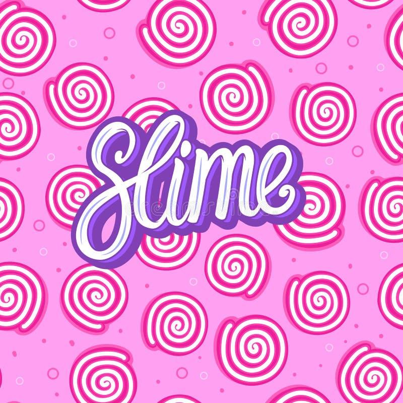 Limo que pone letras a la inscripción Caramelo dulce redondo Modelo inconsútil Ejemplo del vector en fondo rosado de la textura libre illustration