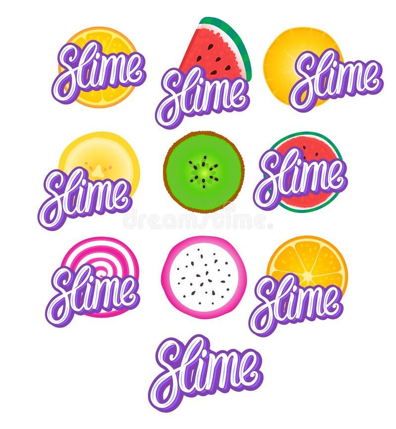 Limo que pone letras a la inscripción Fije las historietas de la fruta del vector Encantos del concepto aislados en blanco libre illustration