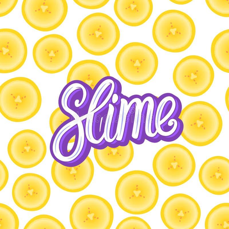 Limo que pone letras a la inscripción Pedazos redondos del plátano Modelo inconsútil Ejemplo del vector en blanco libre illustration