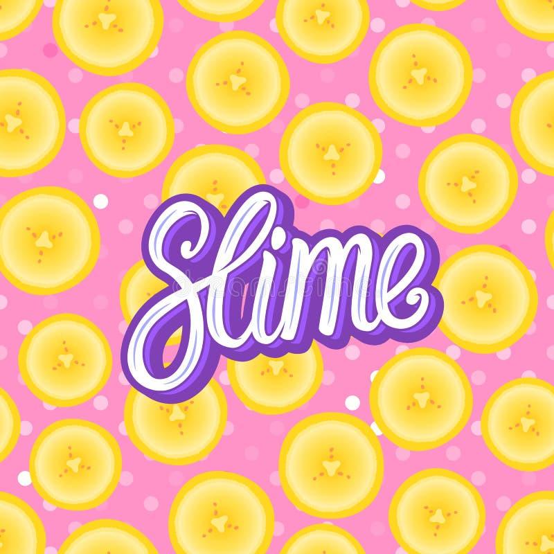Limo que pone letras a la inscripción Pedazos redondos del plátano Modelo inconsútil Ejemplo del vector en textura rosada stock de ilustración