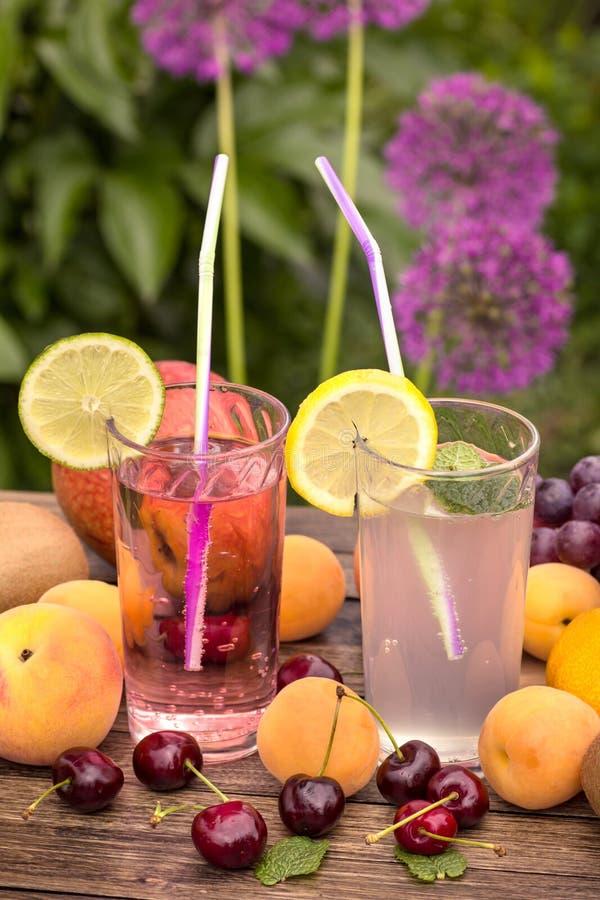 Limonada fresca y frutas maduras verticales imagen de archivo