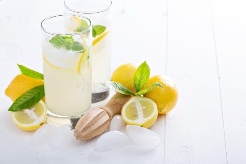 Limonada recién hecha en vidrios altos foto de archivo