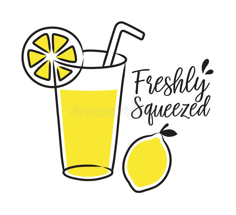 Limonada y lim?n recientemente exprimidos stock de ilustración