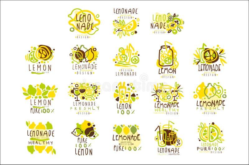 Limonade die voor etiketontwerp wordt geplaatst Kleurrijke Vectorillustraties royalty-vrije illustratie