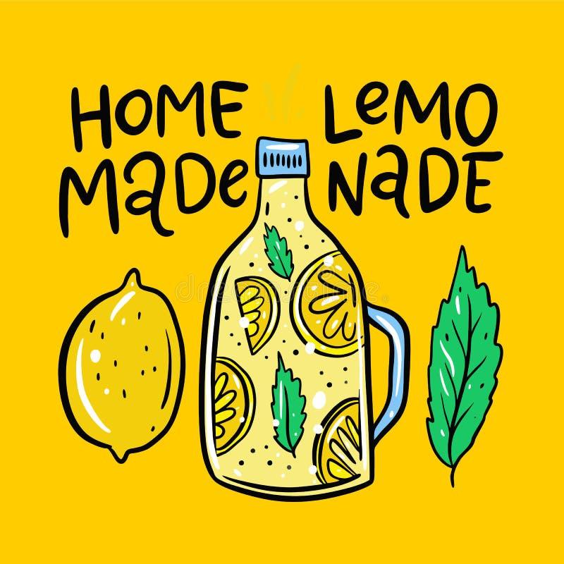 Limonade in een fles hand het getrokken vectorillustratie en van letters voorzien De stijl van het beeldverhaal Ge?soleerd op gel vector illustratie