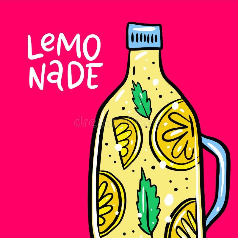 Limonade in een fles hand het getrokken vectorillustratie en van letters voorzien De stijl van het beeldverhaal Ge?soleerd op roz stock illustratie