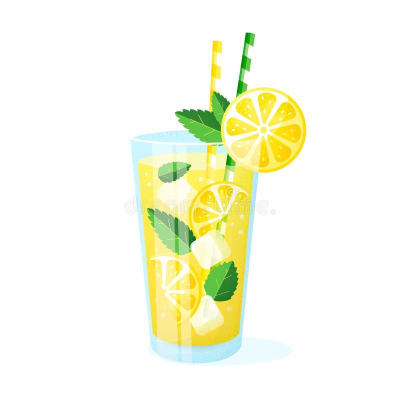 Limonade in een glas Vector illustratie die op witte achtergrond wordt ge?soleerdd vector illustratie