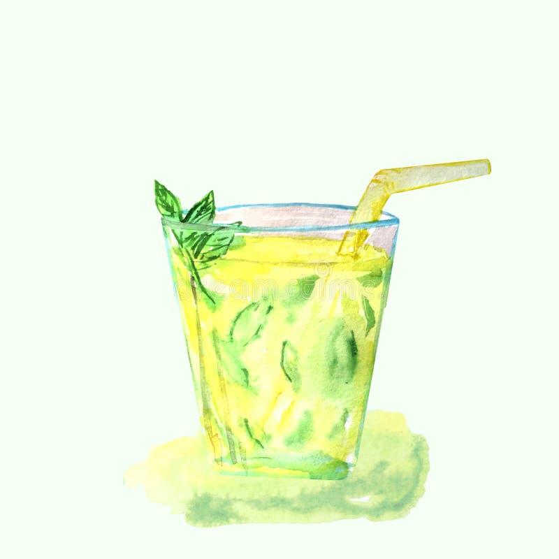 Limonade in een glaskop met ijs en munt vector illustratie
