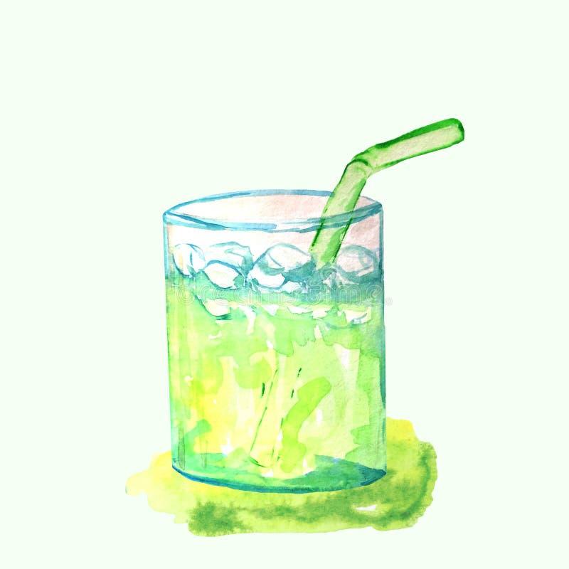 Limonade in een glaskop met ijs en een stro stock illustratie