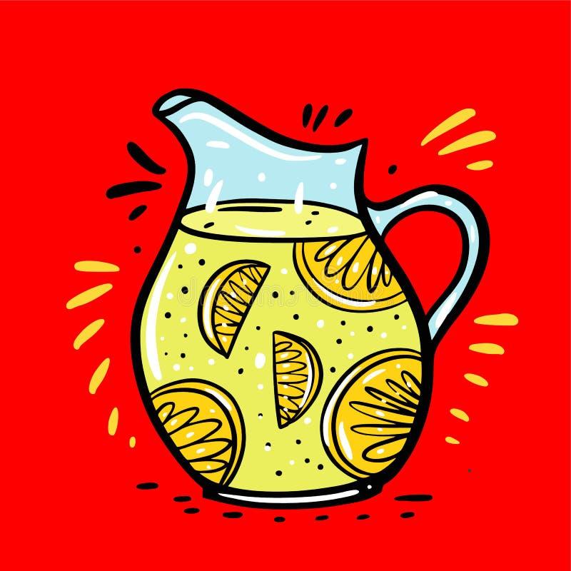 Limonade in een karafhand getrokken vectorillustratie De stijl van het beeldverhaal Ge?soleerdl op rode achtergrond royalty-vrije illustratie