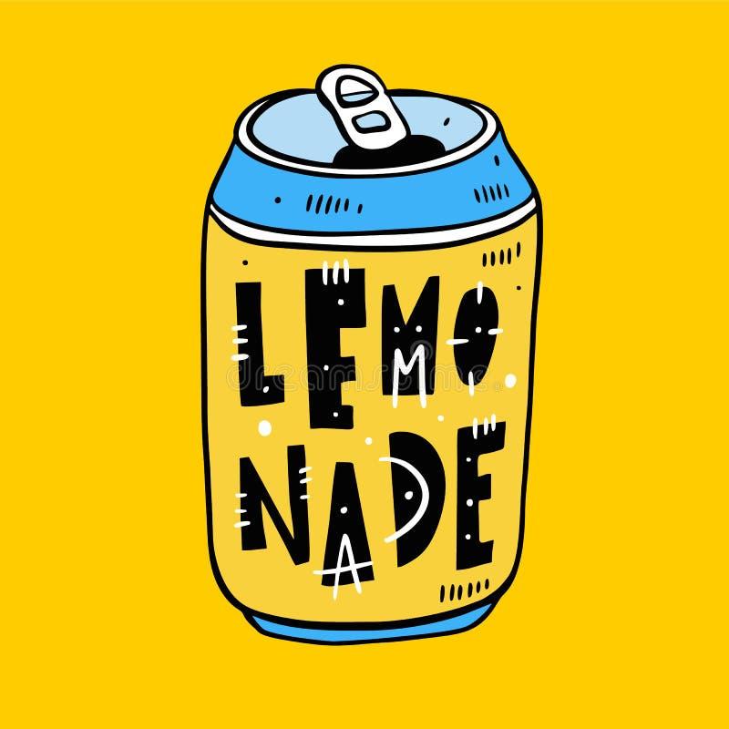 Limonade in een tin hand het getrokken vectorillustratie en van letters voorzien De stijl van het beeldverhaal Ge?soleerd op gele royalty-vrije illustratie
