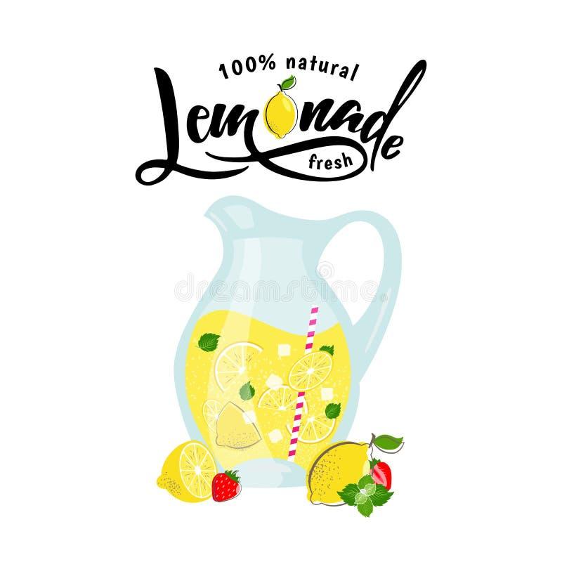 Limonade en de zomervruchten in waterkruik met citroen stock illustratie