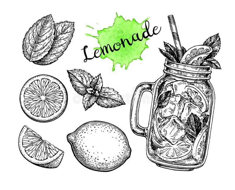 Limonade en ingrediënten royalty-vrije illustratie