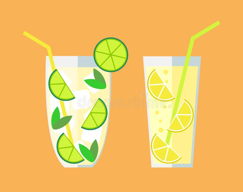 Limonade en Mojito stock illustratie