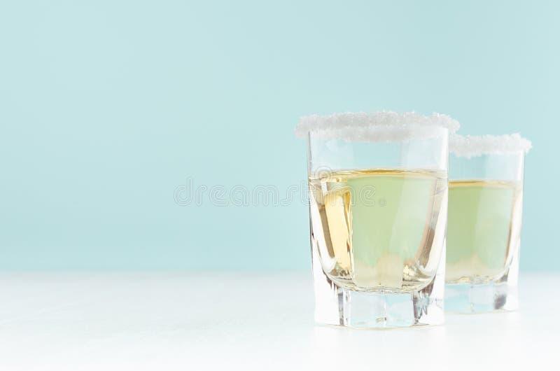Limonade faite maison avec l'agrume vert juteux - jus de citron, jante de sucre sur le bord du verre dans l'intérieur en bon état images libres de droits