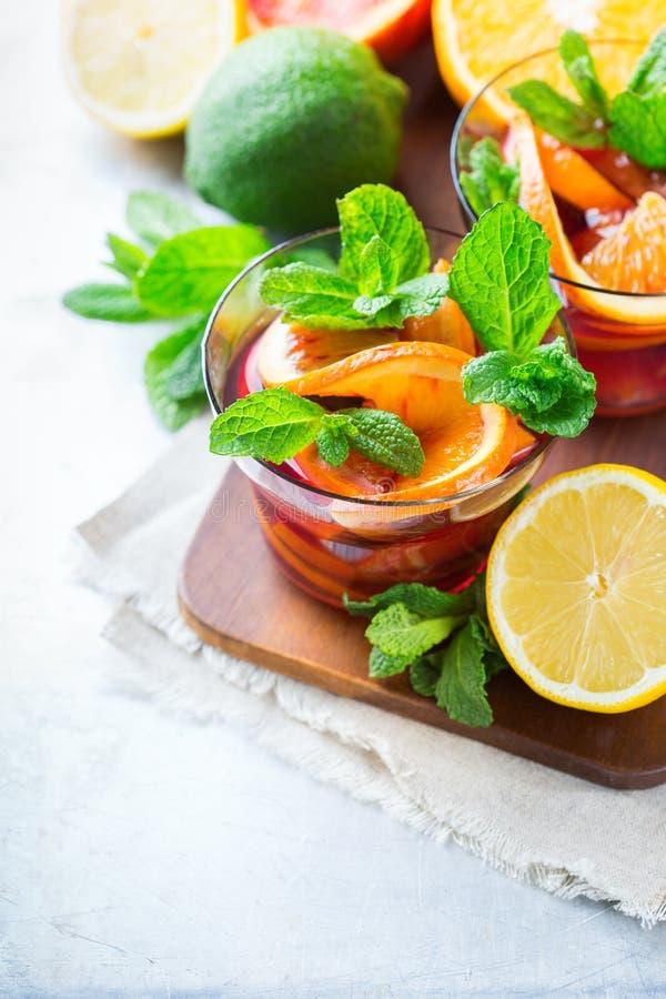 Limonade fraîche d'été d'agrumes, cocktail infusé de boissons de detox de l'eau image libre de droits