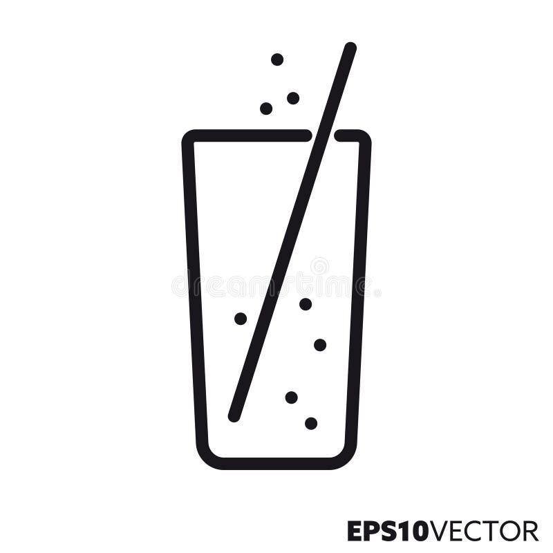 Limonade in glas met pictogram van de stro het vectorlijn stock illustratie