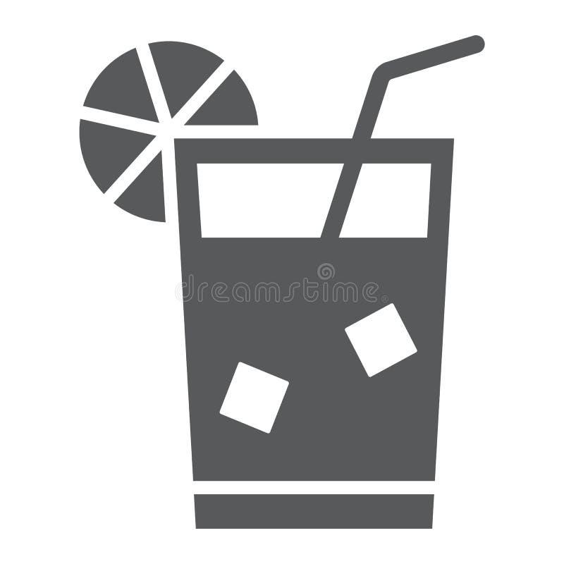 Limonade glyph pictogram, drank en drank, sapteken, vectorgrafiek, een stevig patroon op een witte achtergrond vector illustratie