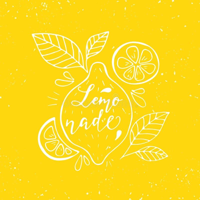 Limonade het van letters voorzien en citroenen royalty-vrije illustratie