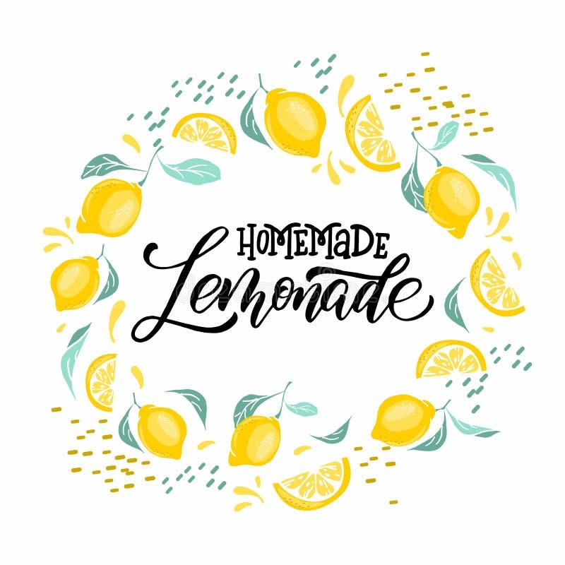 Limonade het van letters voorzien met citroenetiket Borstelkalligrafie van woordlimonade stock illustratie