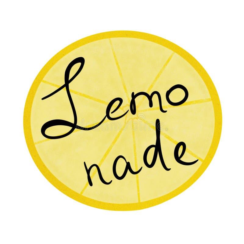 limonade Het van letters voorzien van zwarte kleur op een achtergrond van een citroengele plak stock illustratie