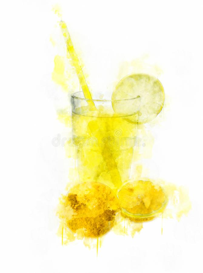 Limonade Juice Glass d'illustration d'aquarelle photographie stock
