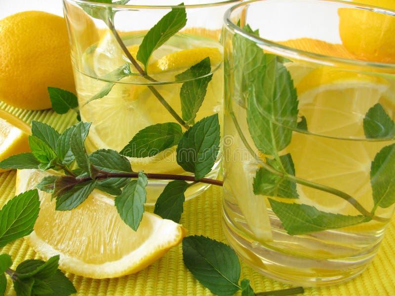 Limonade met citroen en pepermunt royalty-vrije stock afbeelding