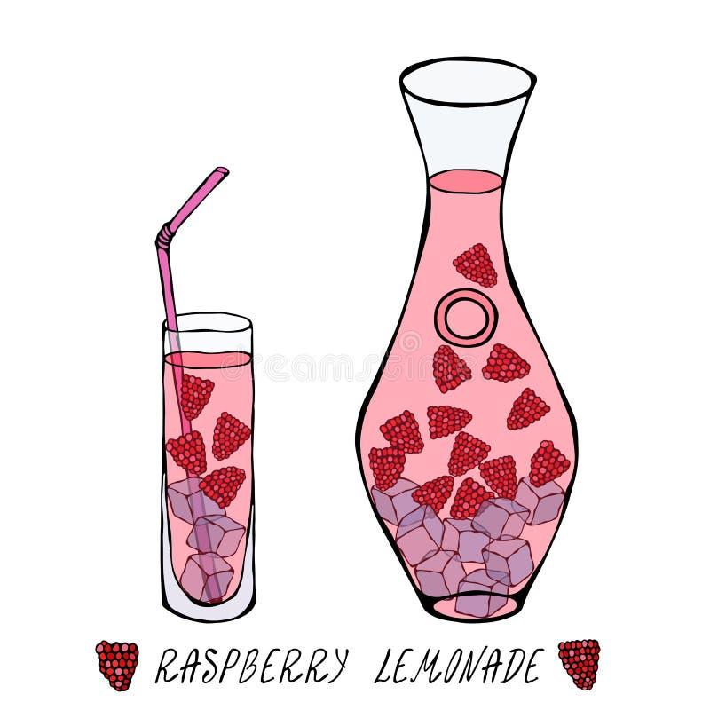 Limonade met Framboos in Karaf en Lang Glas, Ijs, Stro De Inzameling van Coctail van de de zomerbar Realistische Hand Getrokken H vector illustratie