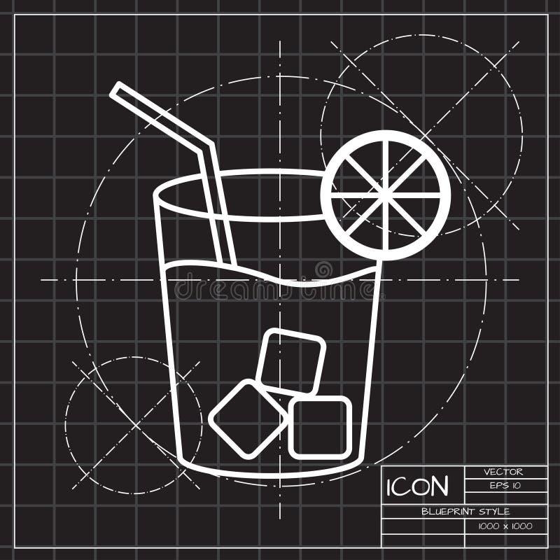 Limonade met het drinken stroillustratie Bevroren Drank vectorpictogram vector illustratie