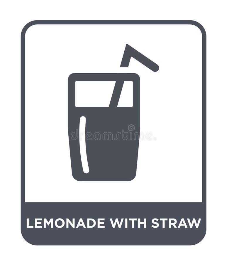 limonade met stropictogram in in ontwerpstijl limonade met stropictogram op witte achtergrond wordt geïsoleerd die limonade met s vector illustratie