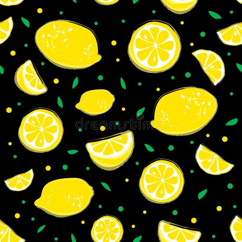 Limonade naadloos patroon met gele citroenen en groene bladeren op zwarte achtergrond royalty-vrije illustratie