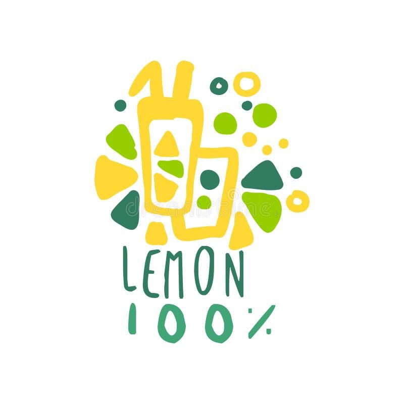 Limonade 100 percenten van het het productkenteken van het embleemmalplaatje de natuurlijke gezonde kleurrijke hand getrokken vec stock illustratie