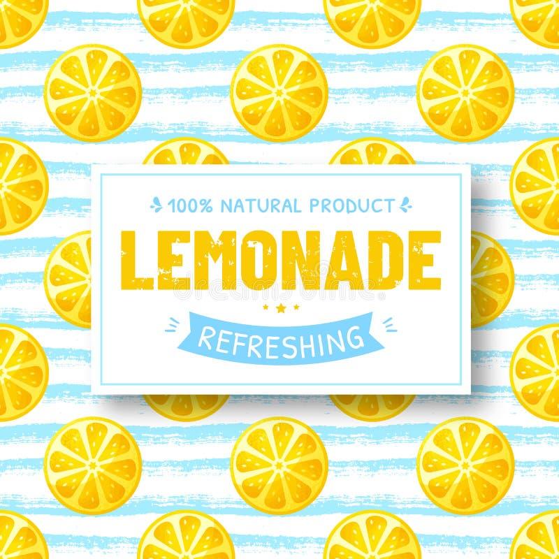 Limonade - vectorbanner met naadloze citroenenachtergrond vector illustratie