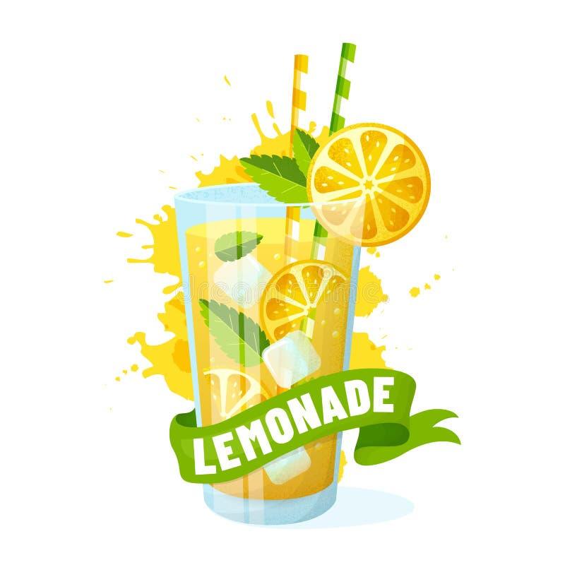 Limonade - vectordieillustratie op witte achtergrond wordt geïsoleerd royalty-vrije illustratie