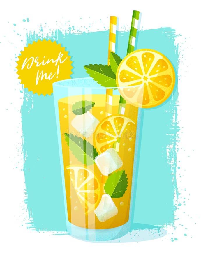 limonade Vectorillustratie met glas van de zomerdrank stock illustratie