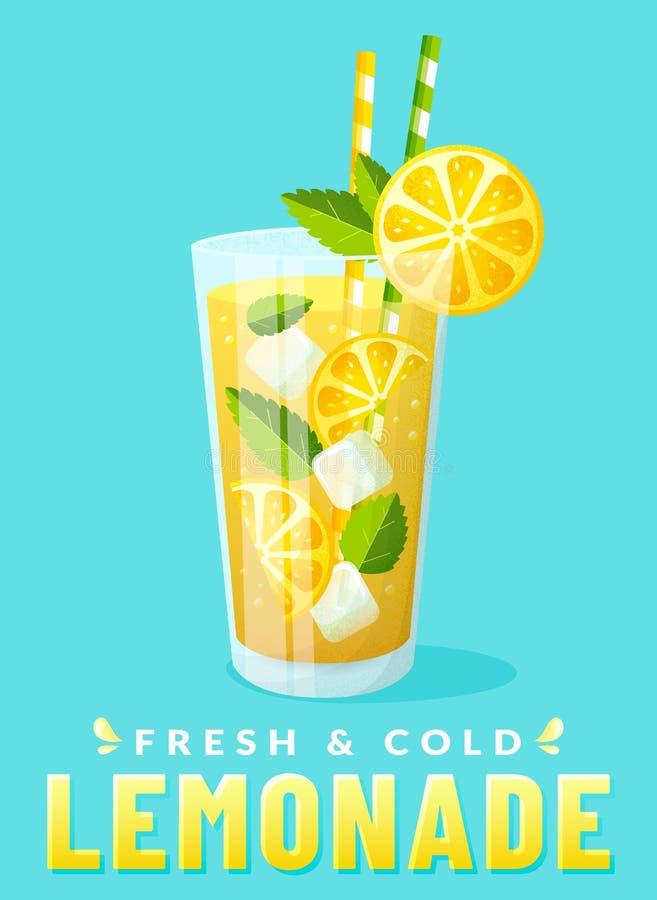 Limonadeglas met citroenplak Vector affiche stock illustratie