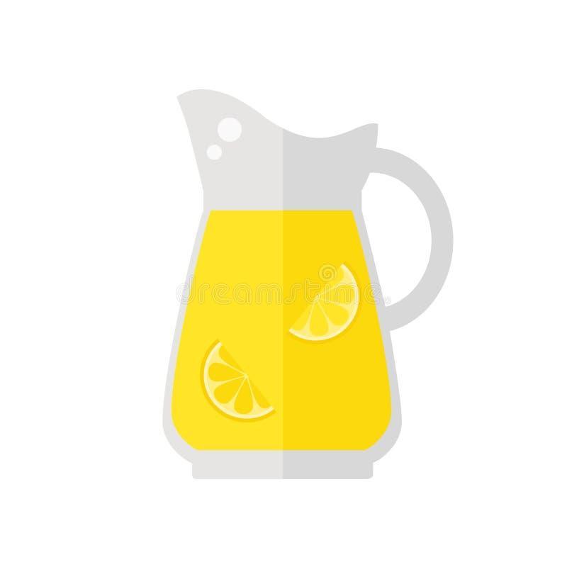 Limonaden-Saftkrugikone auf weißem Hintergrund lizenzfreie abbildung