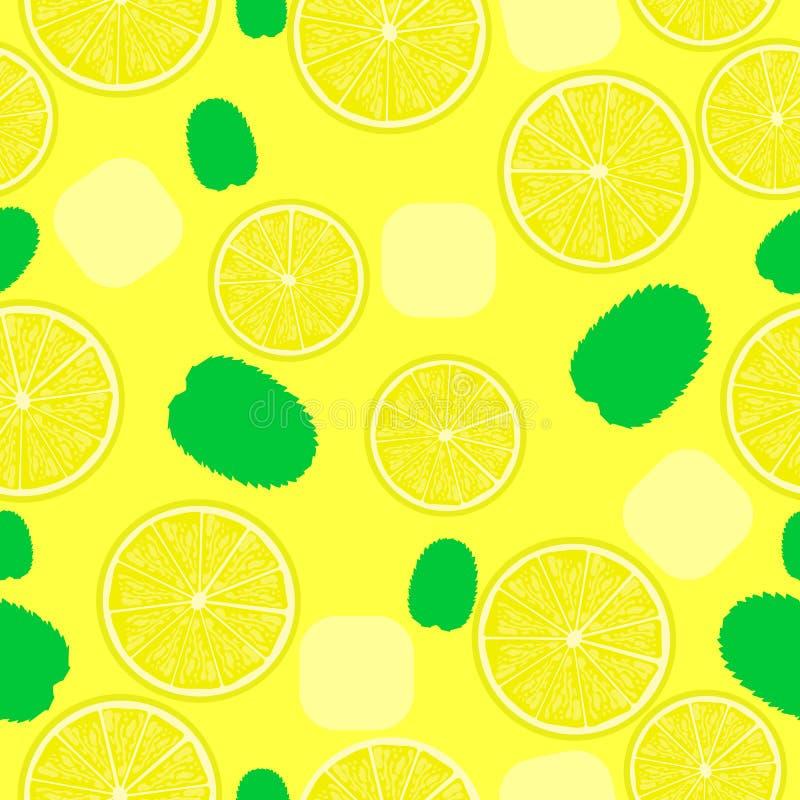 Limonadepatroon Naadloze achtergrond voor coctails met ijs en bladeren stock illustratie