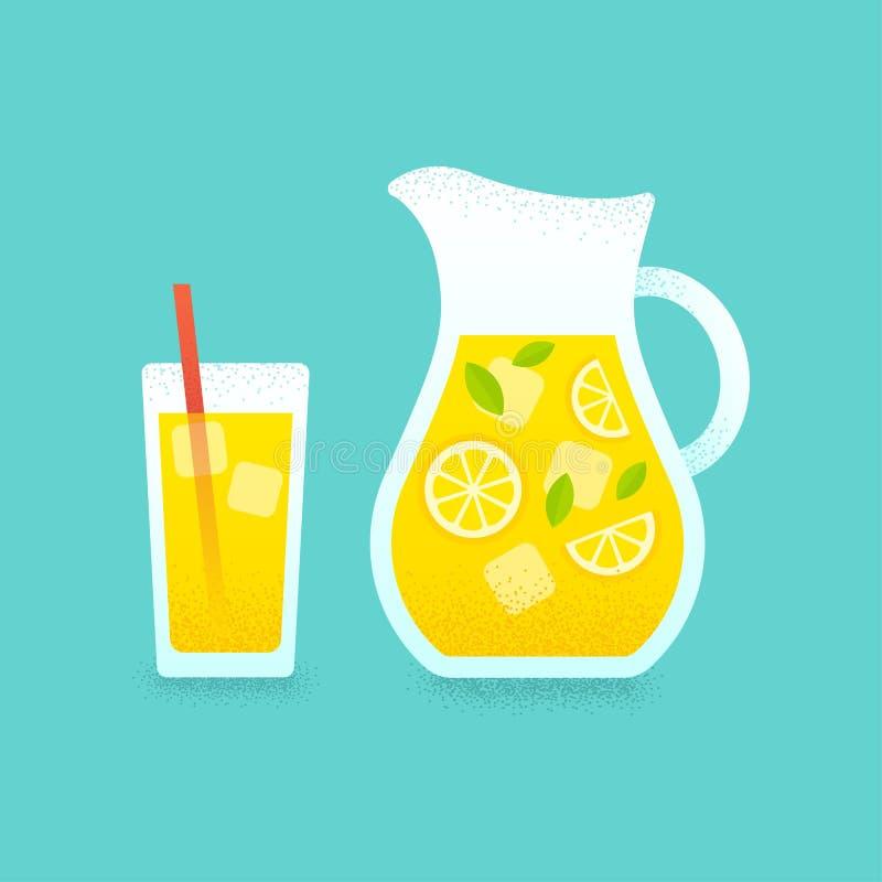 Limonadewaterkruik en glasillustratie stock illustratie